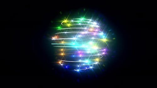 Colorful Light Trails And Flares Sphere Seamless Loop