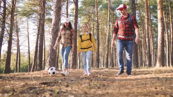 Happy Family are Running on Hike Trip