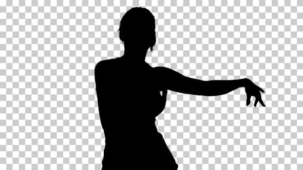 Thumbnail for Silhouette dancing sporty woman, Alpha Channel