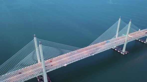 Drone shot dusk hour at architecture bridge