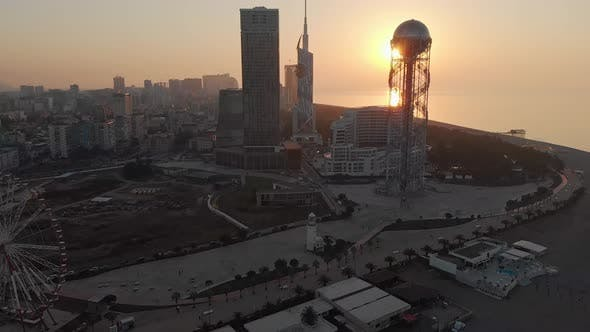 Aerial View Of Beautiful Architecture Buildings In Batumi With Sunset Background