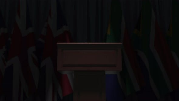 Row of Flags of South Africa and the United Kingdom