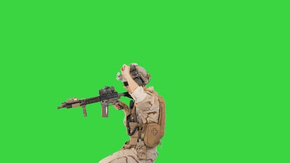 Thumbnail for United States Ranger Walking In, Making Hold Gesture and Then Making Go Gesture on a Green Screen