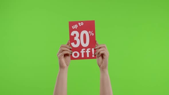Up To 30 Percent Off Advertisement Inscription on Paper Sheet in Womans Hands on Chroma Key