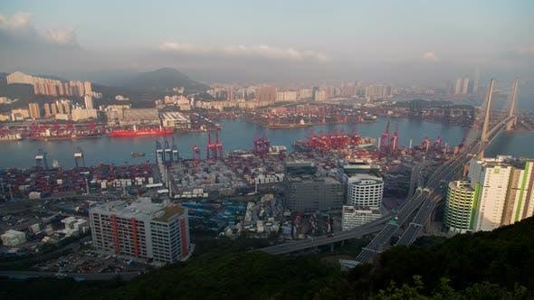 Thumbnail for Kwai Tsing Container Terminal Aerial Panorama  Hong Kong