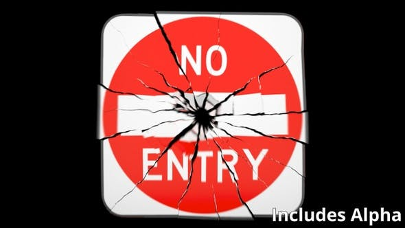 Thumbnail for Exploding No Entry Sign on Black with Matte