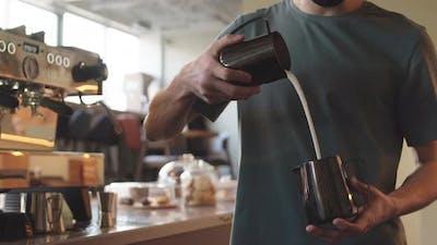 Unrecognizable Barista Making Cappuccino