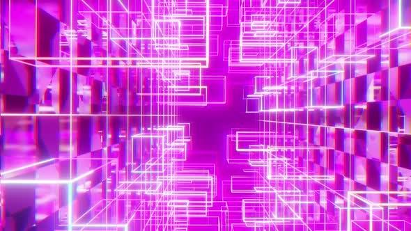 Abstrakt Cyber Cubic Stil Glow Neon 03 HD