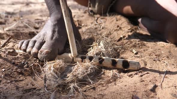 Thumbnail for Ju hoansi bushmen tribe making fire