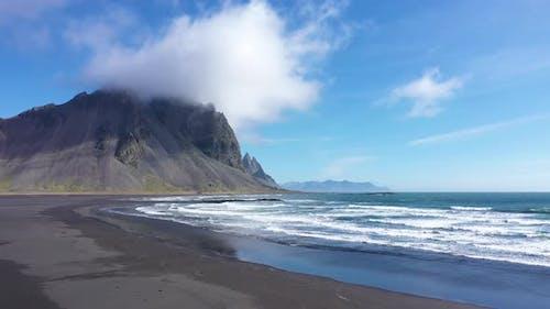 Flying Near Vestrahorn Mountain and Atlantic Ocean, Stokksnes, Iceland