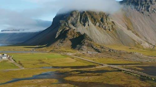 Flying at Vestrahorn Mountain on Summer Morning Stokksnes Iceland