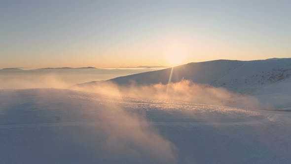 Thumbnail for Misty Mountains in Sunny Winter Day, Aerial View