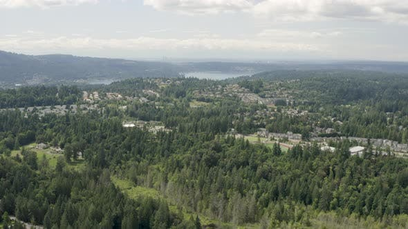 Thumbnail for Aerial Landscape Issaquah Washington - View of Lake Sammamish Seattle and Bellevue Skyline