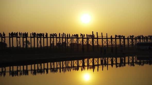 Famous U-Bein Teak Bridge at Sunset, Mandalay