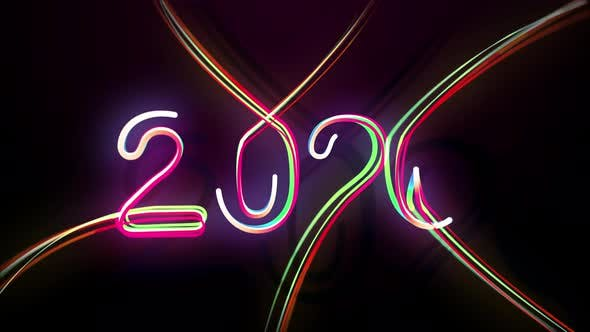 Thumbnail for 2020 Multicolored Neon Numerals Happy New Year