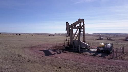 Land Use Gillette in Spring Pumpjack Pump Jack Well Drill Gas Oil Extraction Rangeland