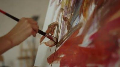 Woman Hand Holding Paintbrush Indoors