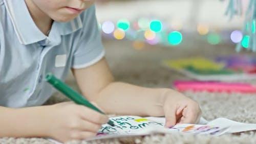 Boy Making Greeting Card