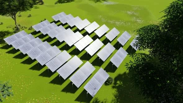 Photovoltaik isoliert auf grüner Grass Solarenergie.