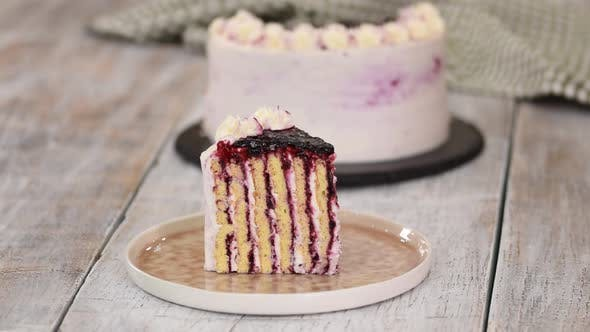 Thumbnail for Piece of Homemade Vertical Layer Blackcurrant Jam Cake