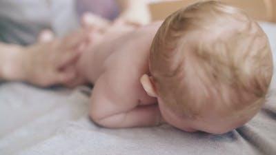 Professional Nurse Hands Practice Hypertonus Back Massage
