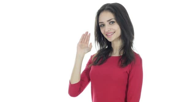 Thumbnail for Hi, Hello, Woman Waving Hand, Welcome, White Background