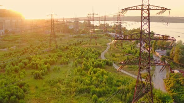 Transmission lines in the morning