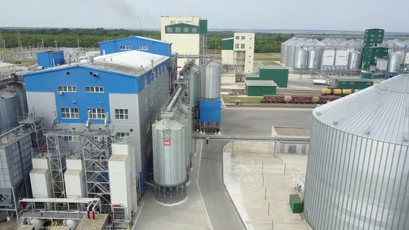 New industrial zone. Aerial view of new grocery industrial zone