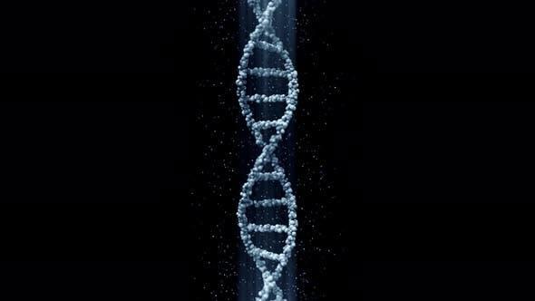 Blue DNA Molecule