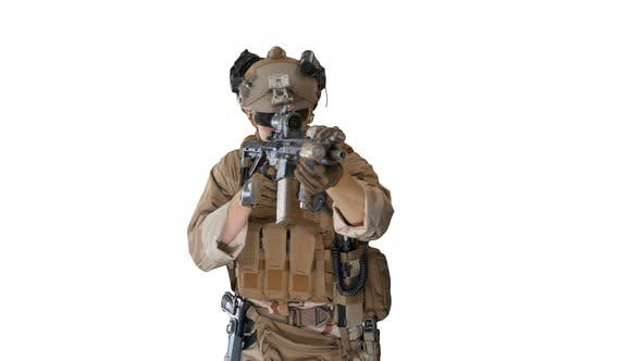 Thumbnail for Soldier Shoots Aming and Shooting with Rifle on White Background.