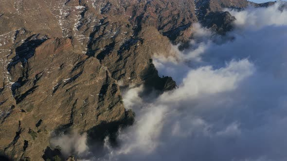 Aerial View Of Roque De Los Muchachos in La Palma Island