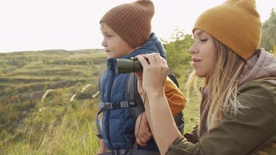 Woman and Boy Enjoying Nature