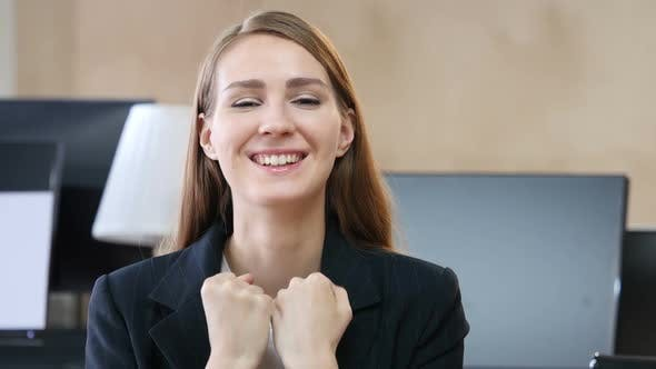 Thumbnail for Happy Excited Woman in Office
