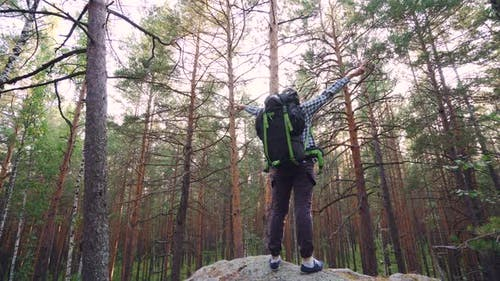 Handsome Guy Wearing Tourist Outfit with Backpack Is Climbing Up Top of Rock, Raising Hands