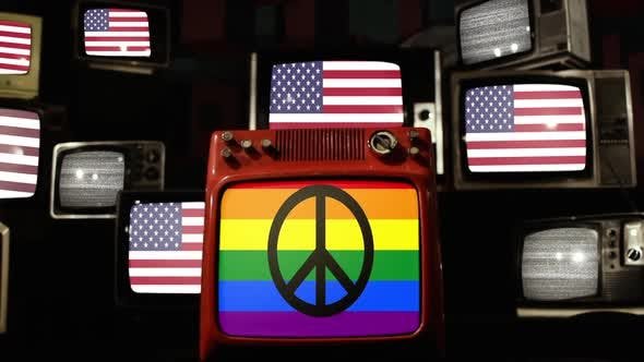 Thumbnail for Rainbow Peace Flag and USA Flags on Retro TVs.