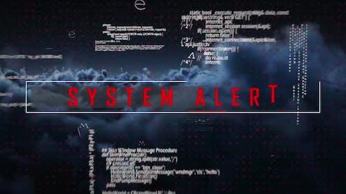 Sicherheitsvorhängeschloss und Systemwarnungstext gegen dunkle Wolken