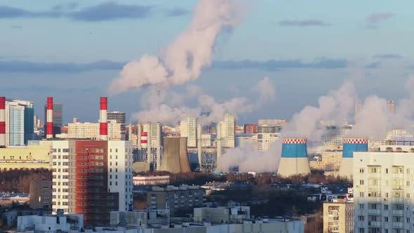 Thumbnail for Smoking Chimneys of a Thermal Power Plant