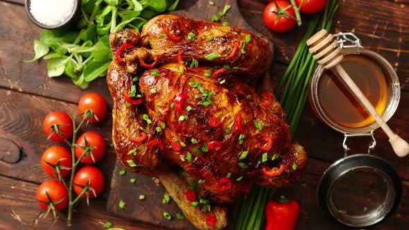 Cover Image for Roasted Whole Chicken or Turkey Served with Chilli Pepers and Chive