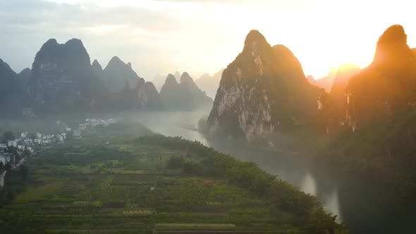 Thumbnail for Aerial shot of the amazing rock formations along the Li River in China