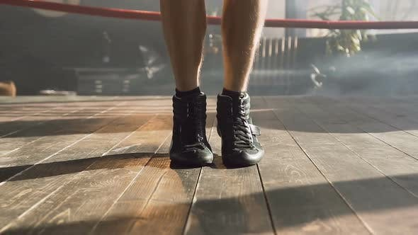 Man Legs Jumping on the Skipping Rope