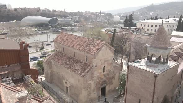 Aerial view of ancient basilic cathedral of Anchiskhati in old Tbilisi