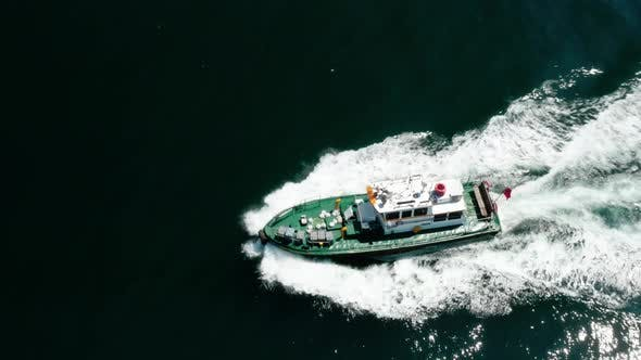 Thumbnail for Fisher Boat Passing Aerial View