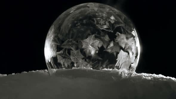 Thumbnail for Ice Bubble with Icy Crystals Freezing Fast in Cold Winter in Black Background