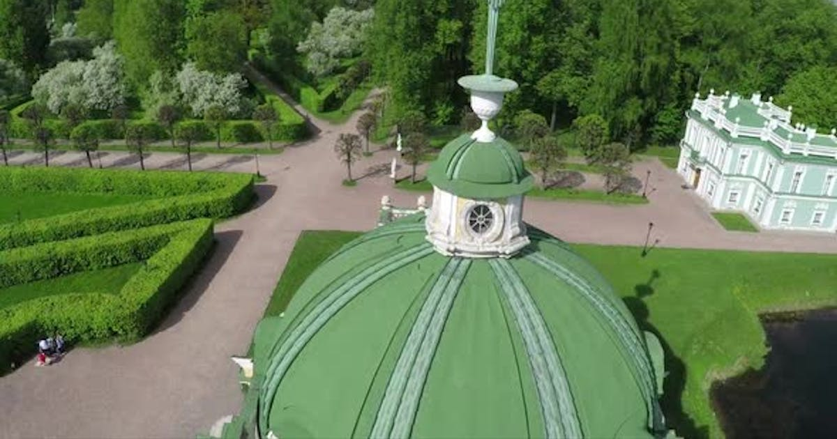 Flying Over the Ancient Building in Tsaritsyno, Moscow