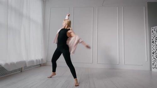 Rhythmic Dance of Young Athletic Girl