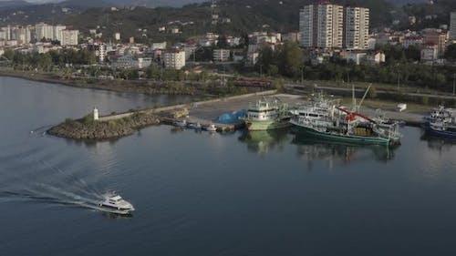 Trabzon City Sea And Boat Aerial View