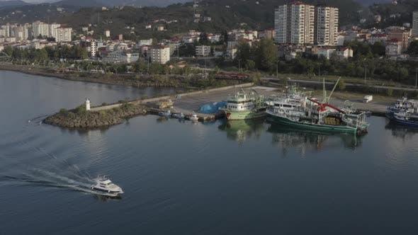 Thumbnail for Trabzon City Sea And Boat Aerial View