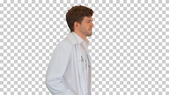 Thumbnail for Male doctor in white coat walking with, Alpha Channel