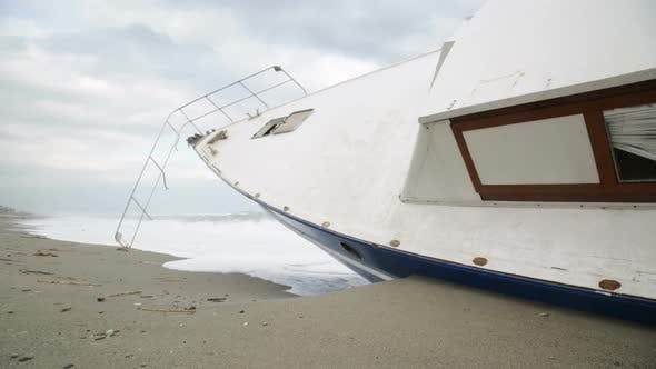 Ship Aground on the Beach During a Tempest