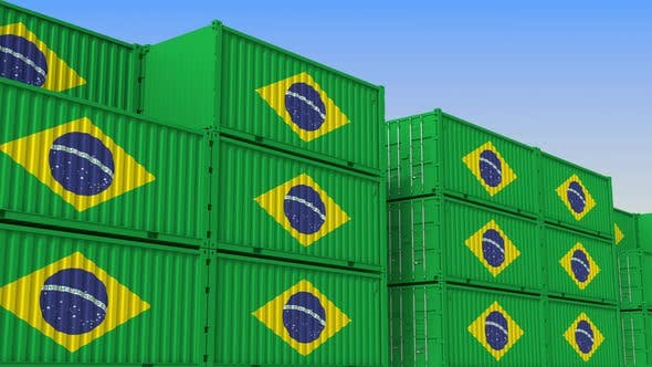 Container Terminal Full of Containers with Flag of Brazil